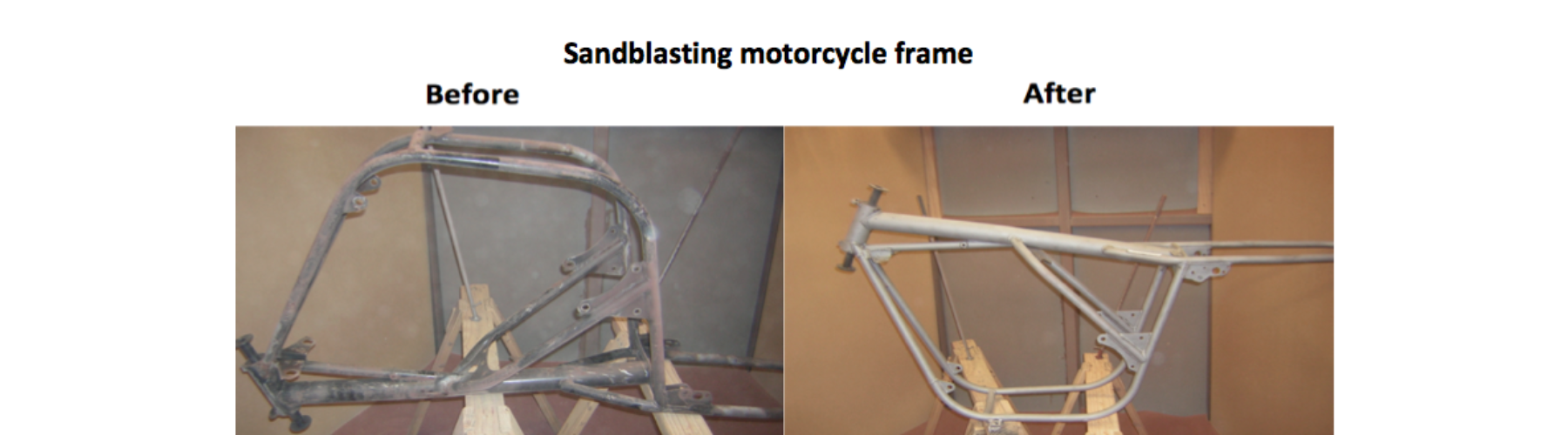 Aton Engineering sandblasting motorcycle frame